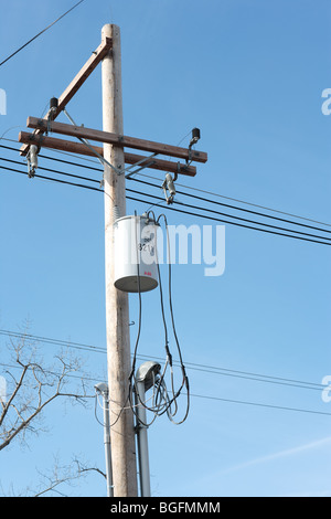 ... Electric lines and transformer on an electric pole - Stock Photo  sc 1 st  Alamy : pole transformer wiring - yogabreezes.com