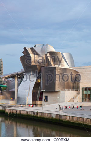 The Guggenheim Museum in Bilbao built by architect Frank Gehry seen from  the Puente Padre Arrupe