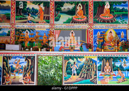 Painting depicting the life story of Shakyamuni Buddha. Kasi. Laos. - Stock Photo