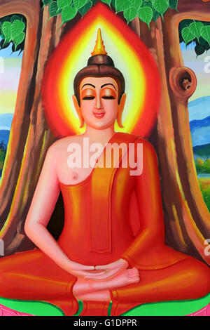 Wat Si Muang ( Simuong) buddhist temple.  Painting depicting the life story of Shakyamuni Buddha. Buddha sitting - Stock Photo