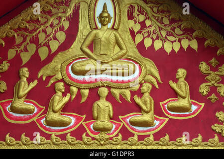 Painting depicting the life story of Shakyamuni Buddha. The first discourse. The Buddha preaching the sermon - the - Stock Photo