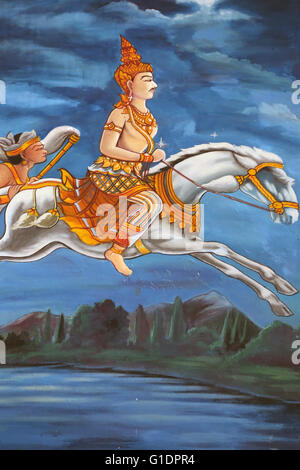Wat Haysok.  Painting depicting the life story of Shakyamuni Buddha.  Buddha leaves his palace at night on his horse - Stock Photo