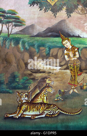 Wat Naxai buddhist temple.  Painting depicting the life story of Shakyamuni Buddha. Compassion to animals. Vientiane. - Stock Photo