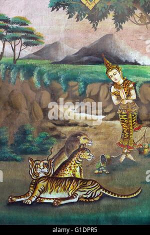 Wat Naxai buddhist temple.  Painting depicting the life story of Shakyamuni Buddha. Compassion to animals. Vientiane. - Stock Photo