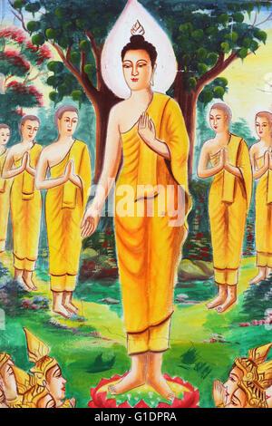 Painting depicting the life story of Shakyamuni Buddha. The Buddha devoted himself to teaching, attracting hundreds - Stock Photo