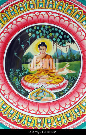 Wat Inpeng buddhist temple.  Painting depicting the life story of Shakyamuni Buddha. The Teaching Buddha depicts - Stock Photo