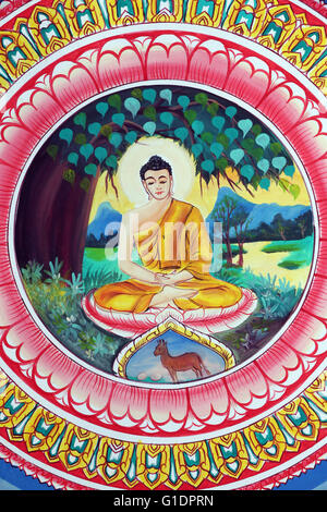 Wat Inpeng buddhist temple.  Painting depicting the life story of Shakyamuni Buddha. Buddha sitting in the meditation - Stock Photo