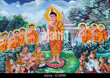 Wat Inpeng buddhist temple.  Painting depicting the life story of Shakyamuni Buddha. Vientiane. Laos. - Stock Photo