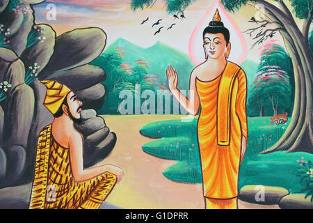 Painting depicting the life story of Shakyamuni Buddha. Kasi. Laos. - Stock Photo
