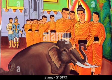 Wat Si Muang ( Simuong) buddhist temple.  Painting depicting the life story of Shakyamuni Buddha. A wild elephant - Stock Photo