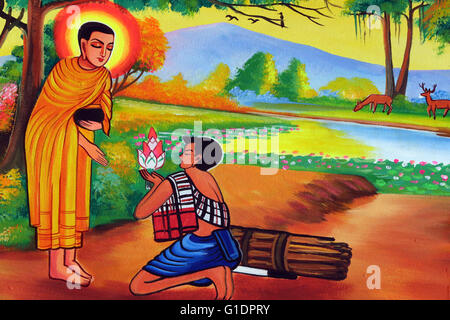 Wat Si Muang ( Simuong) buddhist temple.  Painting depicting the life story of Shakyamuni Buddha. Towards human - Stock Photo