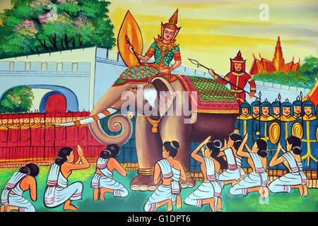 Wat Si Muang ( Simuong) buddhist temple.  Painting depicting the life story of Shakyamuni Buddha. Vientiane. Laos. - Stock Photo