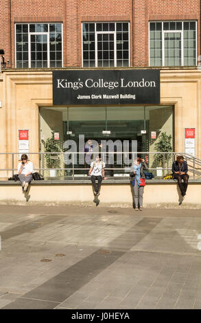 The entrance to King's College London, James Clerk Maxwell building, in London, Waterloo, Lambeth, UK - Stock Photo