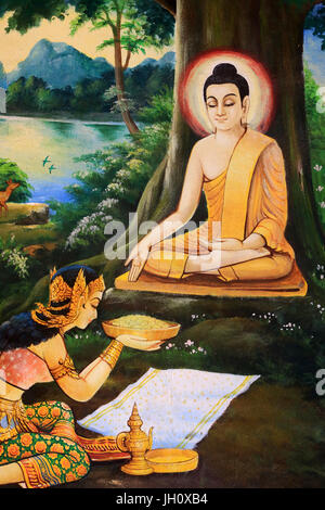 Ascetic Buddha was offered a bowl of milk-rice meal  on the morning of his Enlightenment by Nandabala. Painting - Stock Photo