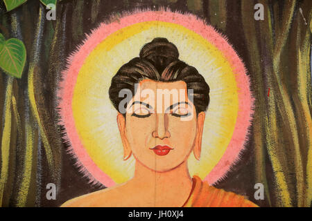 Painting depicting the life story of Shakyamuni Buddha. Wat Naxai. Vientiane. Laos./ Naxai. Vientiane. Laos. - Stock Photo