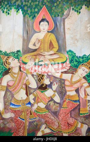 Painting depicting the life story of Shakyamuni Buddha. Wat Naxai. Vientiane. Laos. - Stock Photo
