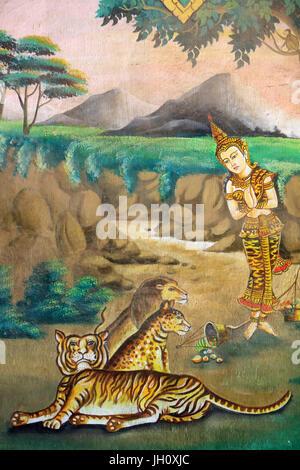 Compassion to animals. Painting depicting the life story of Shakyamuni Buddha. Wat Naxai. Vientiane. Laos. - Stock Photo
