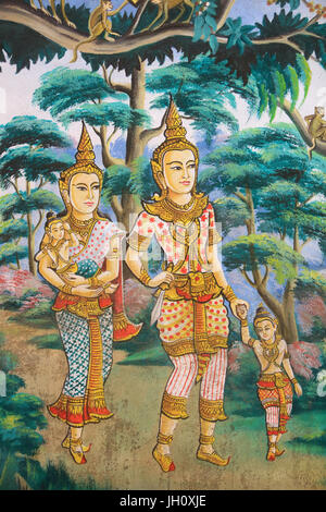 Siddhartha Gautama, his wife Yashodhara and his son Rahula. Painting depicting the life story of Shakyamuni Buddha. - Stock Photo