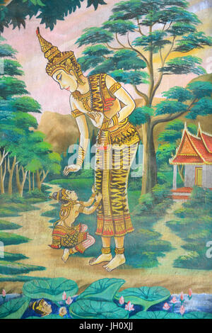 Painting depicting the life story of Shakyamuni Buddha. Wat Naxai. Vientiane. Laos. - Stock Photo