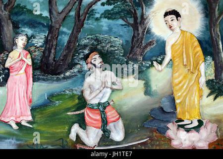 Quan The Am Bo Tat  temple (Pagoda of Avalokitesvara Bodhisattva). Painting depicting the life story of Shakyamuni - Stock Photo