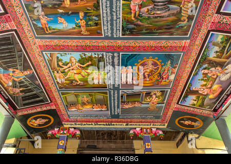 Painted Ceiling of Sabha in Thillai Nataraja Temple, Chidambaram, Tamil Nadu, India - Stock Photo