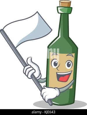 Mit Flagge Flasche Wein Charakter Cartoon - Stockfoto