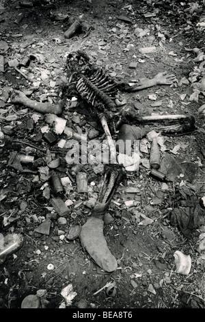 EL PLAYÓN, EL SALVADOR, abril de 1982: Los restos de la mujer asesinada la noche antes y vertió en el Playón por Foto de stock
